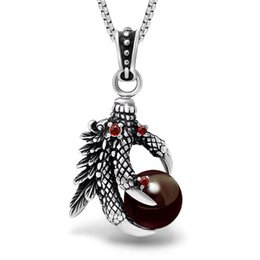 necklaces pendants Australia - Titanium Steel Chinese Style Retro Loong Claw Shaped Black and Red Ball Stone Polishing Bright Personality Pendant Necklace SP436