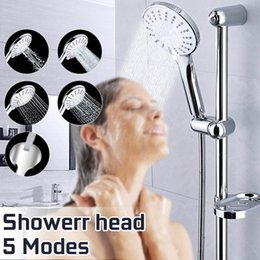 steel walls panels UK - Stainless Steel Bathroom Shower Head Big Panel Round rain head Water Saver Showerhead Handheld Detachable Shower Head 5 modes