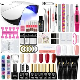kit extensions Australia - 36W LED Lamp Manicure Set Nail Kit Poly Gel Set Nail Gel Polish Quick Building For Extensions Hard Jelly1