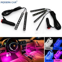 Lighting Dash Australia - MODERN CAR 9 LED 2 4 In 1 Interior 5050 Atmosphere Lights Dash Floor Foot Strip Lights Cigarette Lighter Adapter Decorative Lamp