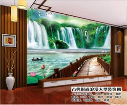 water sofa Australia - Custom Photo Mural Wallpaper Retro Flowing water and wealth Wall Painting Bedroom Living Room Sofa 3D Wall paper