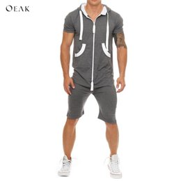 $enCountryForm.capitalKeyWord Australia - Oeak Summer Men Jumpsuits Patchwork Men's Sportswear Casual Hooded Tracksuit with Pockets Short Overalls pantalon hombre