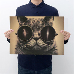 Wall Stickers Rock UK - Cool Handsome Cat Sunglasses Rock Animal Kraft Paper Bar Poster Retro Poster Decorative Painting Wall Sticker