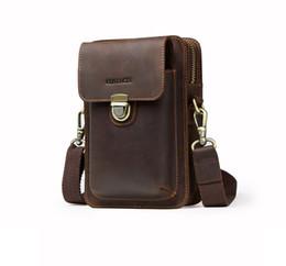 Free Christmas Mobile UK - 2019 Sale men's handbag shoulder bag Cross Body bag high quality leather retro shoulder bag mobile wallet free shipping