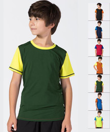 kid red tshirts UK - Kids clothing sportswear boys and girls children clothes basketball football contrast color quick-drying short sleeve sports kids tshirts