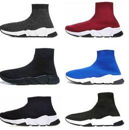 $enCountryForm.capitalKeyWord Australia - Designer mens women Speed Trainer Casual B Sock Shoes black white blue glitter red Flat mens Trainers Runner sneakers