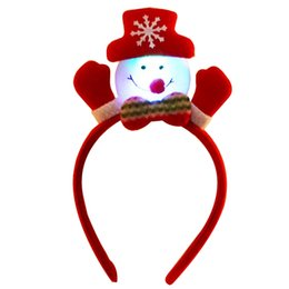 Bored Hair UK - Lovely Christmas Santa Reindeer Snowman Bear LED Light Headband Hair Band Lightening Double Head Xmas Decoration Red New Years