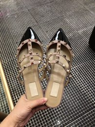 trend popular shoes 2019 - Popular Trend Women Slippers Flat Slip on Slides Sandals Covered Rivets Summer Real Leather Shoes Fashion 3 Colors to Ch