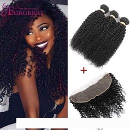 hair weave sizes Australia - pelucas 13x4 Size Curly Lace Frontal With Human Hair Bundles Malaysian Kinky Curly Virgin Hair Weave With Lace Frontal Closure Kinky Cu