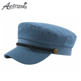 9f0a34d6 [AETRENDS] 2019 Vintage Copper Buckle Denim Newsboy Hats for Women Army  Sailor Cap Newsboy Cap Men Flat Hat gorra mujer Z-6841