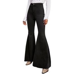 1bc86c8e88 Las mujeres delgadas mediados de cintura botas de corte Jeans Moda campana  inferior pantalones Pantalón de campana de fondo Denim Stretch Sexy  pantalones ...