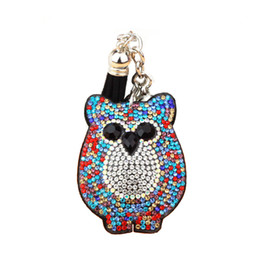 $enCountryForm.capitalKeyWord Australia - Car Keyring Full Crystal Key Holder Key Chain Cute Owl Leather Tassel Keychain Pendant porte clef Charm Jewelry llaveros