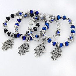 $enCountryForm.capitalKeyWord Australia - Hamsa Hand Bracelets Turkey Fatima Hand Evil Eye Bead Jewelry Men Fashion Vintage Silver Beaded Charms Bracelet Gift for Women Man Girl Lady