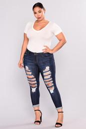 Party Jeans Australia - Holes Cutout Fashion Jeans Women Spring Skinny Casual Sexy Party Trousers Women Plus Size XXL-7XL