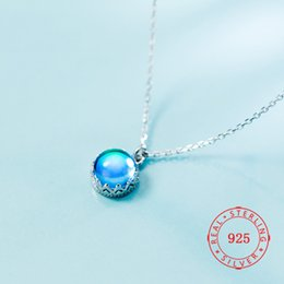 $enCountryForm.capitalKeyWord NZ - Factory Price Hot Style 925 Sterling Silver Simple Creative Blue stone semicircle necklace modern fake gemstone necklace jewellry