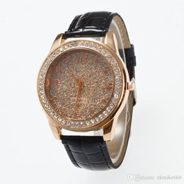 $enCountryForm.capitalKeyWord UK - 2018 New Design Golden diamond bezel matte golden particles Dial Leather Watchband watch fashion belt female models