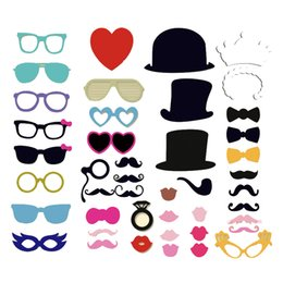 fun glasses stick 2019 - 44pcs Fun PhotoBooth Props Lip Mask Hat Glass Colorful Card On A Stick Wedding Party Decoration Favor