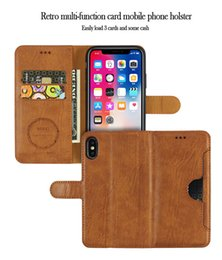 Pocket Plus Cell Phone Holder Australia - For Iphone Xr Xs Max 6 7 8 X Plus Leather Case Card Holder Wallet Phone Case Oil Side Line Cell Phone Case