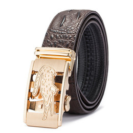 Automatic Buckle Leather Belt Crocodile UK - Brands New Design Crocodile Belts Unisex Leather Waist Belt Fashions Womens Business Belt Mens Jeans Straps Black Brown Belt