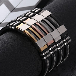 Wholesale Men's Stainless Steel Silicone Black Bracelet Simple Rubber New Design Punk charm WristBand Bangle For Mens Fashion Jewelry Gift