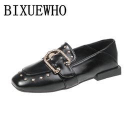 Square Geometric Ring Australia - 2019 New Retro Summer Female Flats Women's Square Toes Flat Heels Slip-On Shoes Woman Metal Ring Decoration All-Match Shoes