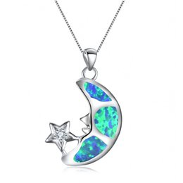$enCountryForm.capitalKeyWord Australia - Halloween Gift Cute Moon Star Pendant White Blue Fire Opal Long Necklace For Fashion Women 925 Silver Plated Filled Jewelry Accessories