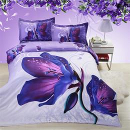 Dreams Bedding Australia - Purple dream flower 3d bedding set for girl adults of duvet cover bed sheet pillowcase bed duvet cover set family set 4pcs
