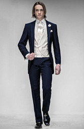best suit sales NZ - New Hot Sale Slim Fit One Button Navy Blue Groom Tuxedos Notch Lapel Groomsmen Best Man Mens Wedding Suits (Jacket+Pants+Vest+Tie) 1533