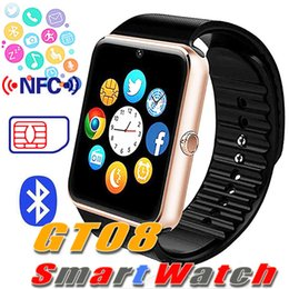 android smart watch nfc Australia - GT08 Bluetooth Smart Watch with SIM Card Slot and NFC Health Watchs for Android Samsung and IOS Apple iphone Smartphone Bracelet Smartwatch