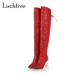 Blingbling sequined cloth over the knee boots clear heels pointy toe shoes  woman lace up black red hot zipper winter long boots ea461955a8a1