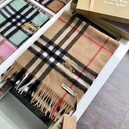 Großhandel 2019 Unisex Fashion Winter-Designer 100% Kaschmir-Schal Momen und Männer Marke Luxus Big Size klassischer Karo-Schal Pashmina Infinity-Schal