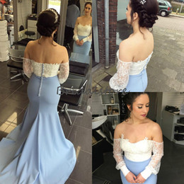 ea46f822b5e5 Unique Mermaid Prom Dresses Off The shoulders Top White Lace Long Sleeves  Sexy Backless Evening Formal Dress Elegant Miss Pageant Gown 2019