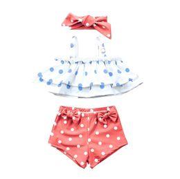 Girls swimminG shorts tops online shopping - Top quality baby girls swim suit headband ruffle bikini shorts trunks set princess girl beach clothes dots bow girl bathing suit