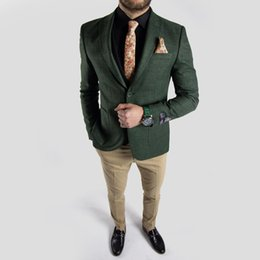 China Dark Green Tweed Wedding Groom Tuxedos Handsome Slim Fit Pants Suits Prom Party Mens Formal Wear(Jacket+Pants) suppliers