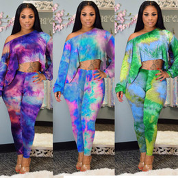 $enCountryForm.capitalKeyWord Australia - African Women 2019 new Women tie dye galaxy print off shoulder long sleeve tee pants suit two piece set casual sport tracksuit outfit HISIMP