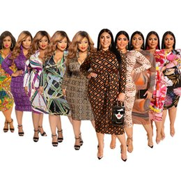 TighT dresses designs online shopping - 2019 Women Plus size dress printed dress tight skirt Packet hip Puller design sexy fashion Both before and after wear Designer dress