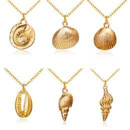 ConCh pendants online shopping - 2019 New Fashion Gold Color Alloy Cowrie Shell Necklace for Women Conch Chain Pendant Necklace Summer Jewelry Starfish