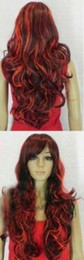 Mix Red Hair Australia - WIG FREE SHIPPING Hot heat resistant Party hair>>G.D.CFashion black mixed red long curly women's cosplay wig+hairnet