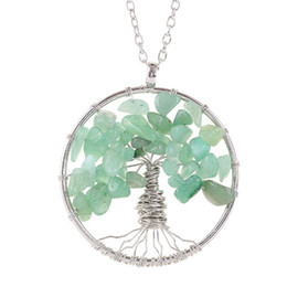 $enCountryForm.capitalKeyWord Australia - Tree of Life Pendant Necklace Colorful High Quality Life Tree Root Chain Necklaces Women Natural Stone Turquoise Sweater Chain Jewelry