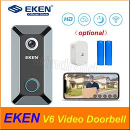 Doorbell chimes online shopping - EKEN V6 P WIFI Video Doorbell Home Door Bell Chime Wireless visual doorbell Cloud Storage Two Way Audio Night Vision APP Control cheap