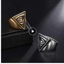 $enCountryForm.capitalKeyWord NZ - D&Z Punk Illuminati Pyramid Eye Ring Men 316L Stainless Steel Hip Hop Gold Color Triangle Rings for Men Jewelry Egyptian Pharaoh