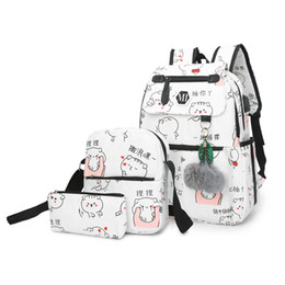 large canvas prints black white UK - Charismatic2019 Package Shoulders In High Student Leisure Time A Bag Written Words Canvas Printing Outdoors Backpack Waterproof Three-piece