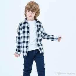 $enCountryForm.capitalKeyWord Australia - New 18 Styles INS Kids Boys Girls Flannel Shirts 100% Cotton Plaid Shirts Front Buttons Bust Pocket Design Turn-down Collar Children Shirts