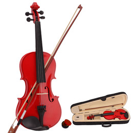 red violin 2019 - New 4 4 Natural Acoustic Violin & Case & Bow & Rosin for Violin Beginner Acoustic Violin Case Bow Rosin Red Ship from US