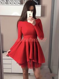 Plus Size Ball Gowns For Cheap Australia - Simple Style Long Sleeve Homecoming Dresses for Juniors Plus Size Cheap Satin Short Prom Dress Party Ball Gowns Graduation Club Wear Cheap