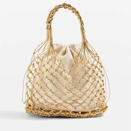 gold silver tote bags Canada - Women Handbag Totes Bucket Paper Straw Plain Woven Bag Hollow Reticulate Korean National Knitting Gold silver hollow out