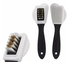 roller sets UK - Useful Suede Shoe Brush 3 Side Cleaning Brush And Rubber Eraser Set Black S Shaped Shoes Cleaner