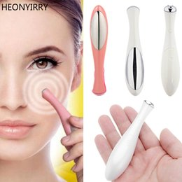 pen infrared Canada - EM002 Electric Eye Massager Mini Eyes Wrinkle Dark Circles Removal Pen Anti Aging Massager Negative Ion Vibration Face Lifting Tool