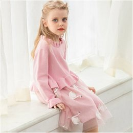 Girls cotton knit dresses online shopping - Kids Luxury Dress Girls Brand Knitted Mesh Puff Princess Dress Childrens Swan Print Skirt Solid Color Lace Dresses Girl Clothing Hot Sale