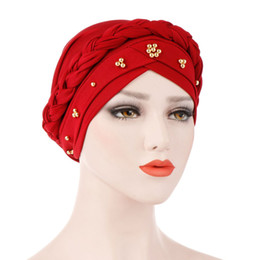 chemo beanie NZ - Women Turban Wrap Cap Hats Beading India Hat Muslim Ruffle Cancer Chemo Beanie Woman Bonnet Femme for women NEW